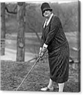 Woman Ready To Play Golf Canvas Print