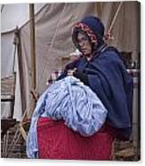 Woman Reenactor Sewing In A Civil War Camp Canvas Print