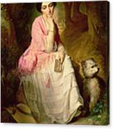 Woman Seated In A Forest Glade Canvas Print