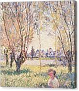 Woman Seated Under The Willows Canvas Print