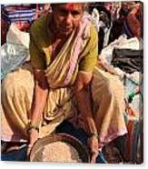 Woman Sifting In A Street Market India Canvas Print