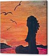 Woman Silhouette On The Beach - Kid's Painting Canvas Print