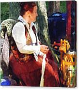 Woman Spinning Yarn At Flea Market Canvas Print