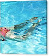 Woman Swimming Canvas Print