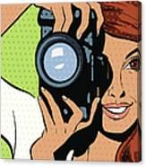 Woman Taking Photograph Canvas Print