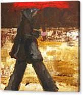 Woman Under A Red Umbrella Canvas Print