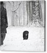 Woman Walking In The Snowy Forest Canvas Print