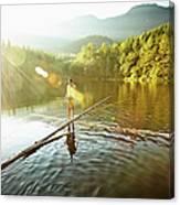 Woman Walking On Log In Alpine  Lake Canvas Print