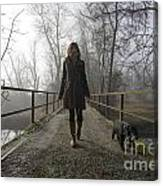 Woman Walking With Her Dog On A Bridge Canvas Print
