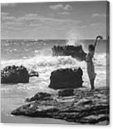 Woman Waving On Shore Canvas Print