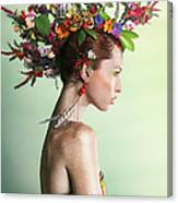 Woman Wearing A Colorful Floral Mohawk Canvas Print