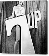 Woman With 7 Up Logo Canvas Print