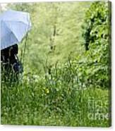 Woman With A Blue Umbrella Canvas Print