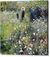 Woman With A Parasol In A Garden, 1875 Canvas Print