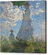 Woman With A Parasol Madame Monet And Her Son  Canvas Print