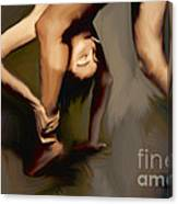 Woman With Cigarette Exercising Canvas Print