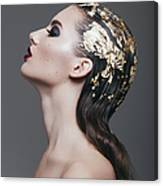 Woman With Foil Hairstyle Canvas Print
