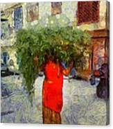 Woman With Ker Leaves India Rajasthan Jaisalmer Canvas Print