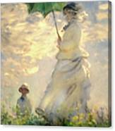 Woman With Parasol Dedication Canvas Print
