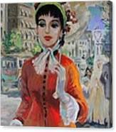 Woman With Parasol In Paris Canvas Print