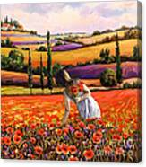 Women Gathering Poppies In Tuscan Canvas Print