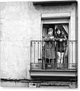 Women In Balcony Canvas Print