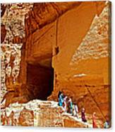 Women Leaving A Storage Place Near The Treasury In Petra-jordan Canvas Print