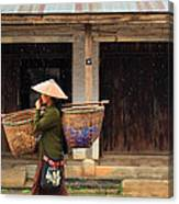 Women Market Walking On Street Canvas Print