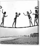 Women Play Beach Basketball Canvas Print