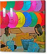 Women Working Together At Borsang Umbrella And Paper Factory In Chiang Mai-thailand Canvas Print