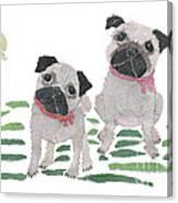 Pug Art Hand-torn Newspaper Collage Art By Keiko Suzuki Bless Hue Canvas Print