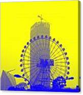 Wonderwheel In Blue And Yellow Canvas Print