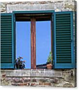 Wood Brown Window With Green Shutters Of Tuscany Canvas Print
