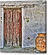 Wood Door And Clay Pot By Diana Sainz Canvas Print