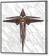 Wood Steel Cross Canvas Print