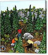 Woodcutters And Black Lab Canvas Print