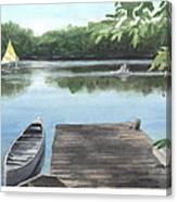 Wooded Lake Watercolor Portrait Canvas Print