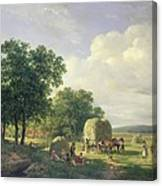Wooded Landscape With Haymakers Canvas Print