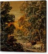 Wooded Landscape With Herdsman And Cattle Canvas Print