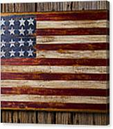 Wooden American Flag On Wood Wall Canvas Print