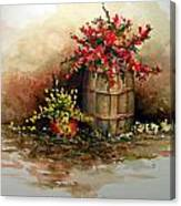 Wooden Barrel With Flowers Canvas Print
