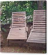 Wooden Beach Chairs Canvas Print