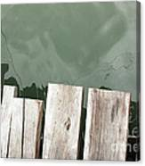 Wooden Board Against Sea Surface Canvas Print