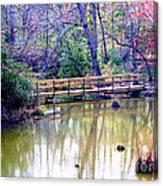 Wooden Bridge Over Pond Canvas Print
