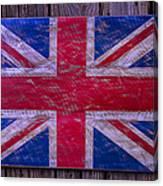 Wooden British Flag Canvas Print