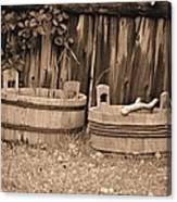 Wooden Buckets Canvas Print