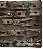 Wooden Clothespins Canvas Print