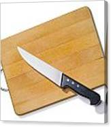 Wooden Cutting Board With Kitchen Knife Canvas Print