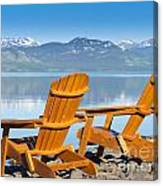 Wooden Deckchairs Overlooking Scenic Lake Laberge Canvas Print