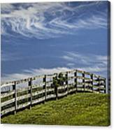 Wooden Farm Fence On Crest Of A Hill Canvas Print